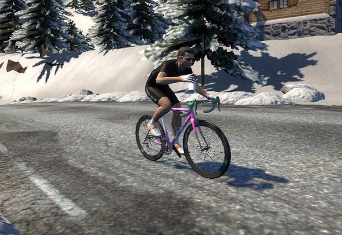 Even Zwift riders experience the snow